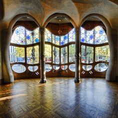 interior of Casa Batllo designed by Antonio Gaudi in Spain
