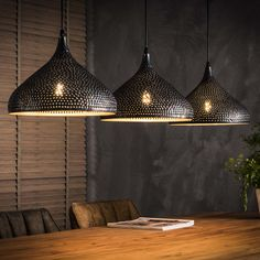 Trenc hanging lamp Trendy pendant lamp in funnel shape made of metal. This ceiling lamp is made of perforated gray-blu Cool Lamps, Unique Lamps, Dining Room Lighting, Home Lighting, Ceiling Lamp, Ceiling Lights, Best Desk Lamp, Suspension Metal, Rustic Chandelier