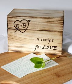 Check out this item in my Etsy shop https://www.etsy.com/listing/511352585/personalized-rustic-wood-recipe-card-box