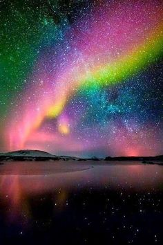 Aurora borealis and milky way, Iceland! Awesome reflections of the Aurora Borealis and the Milky Way!