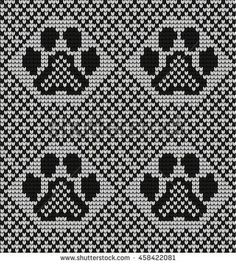 Seamless knitted pattern with cat paws free fair isles ravelry Seamless Knitted Pattern Cat Paws Stock Vector (Royalty Free) 458422081 Fair Isle Knitting Patterns, Fair Isle Pattern, Knitting Charts, Loom Knitting, Knitting Stitches, Knitting Socks, Baby Knitting, Stitch Patterns, Crochet Patterns