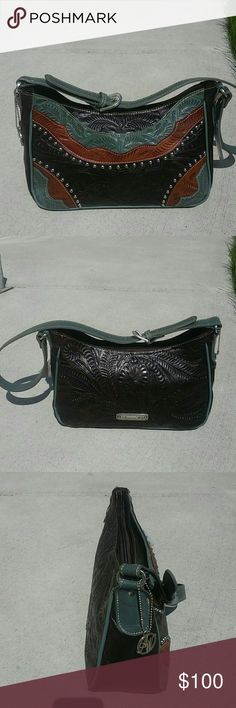 American West Tooled Leather Purse Nwt
