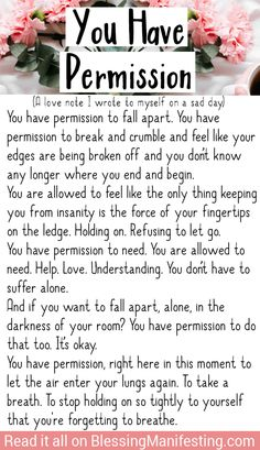 For anyone who is having a sad day you have permission to fall apart. Just know that it will be okay eventually. Take care of yourself and love yourself. Falling Apart Quotes, Time Apart Quotes, Quotes To Live By, Me Quotes, Sad Day Quotes, Lost Quotes, Was Ist Pinterest, Mental Health Quotes, Note To Self