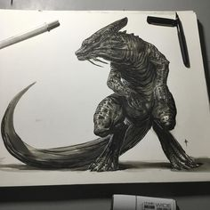 regram @joverine Last post felt a little too negative so here's a ...uhhh...well it doesn't have a name yet... Eliteosaurus? Heh heh heh #stillsalty And yes this is the same creature that was drawn with my bros the other day-just more finished.  A Dragon Dino type creature anyway. Originally intended to be a docile herbivore but gave him some angry eyes. Maybe the grass was greener on the other side?  #art #artist #inks #joverinks #dinosaur #dragon #gameofthrones #noSpoilers#please…