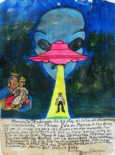 23-летний Умберто Родригес вместе с 4 приятелями отправился в поход в окрестностях Кокойока, штат Морелос. В 11 вечера он немного отдалился от группы, и в этот миг его вдруг подхватил яркий луч света и стал поднимать в воздух прямо к НЛО. Через 30 минут он вернулся назад к своим приятелям, которые обыскались его и были напуганы. Умберто сказал, что ничего не помнит, кроме того, что он молился Пресвятой Деве Святого Сердца. Он преподносит это ретабло.  Мехико, 2003.
