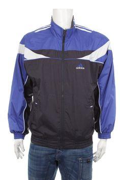 Vintage degli anni '90 adidas donne tuta top giacca a vento blu