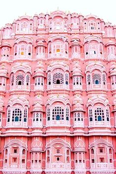 Palace of the Winds or Pink Palace, Jaipur, India. Beautiful pink building with fantastic architecture and a rose colored facade. Oh The Places You'll Go, Places To Travel, Travel Destinations, Beautiful World, Beautiful Places, Pink Palace, Jaipur India, India Palace, Le Palais