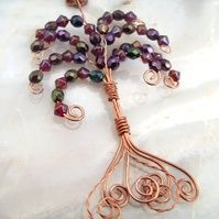 Copper Wire Crystal Autumn Acer Tree Pendant Necklace