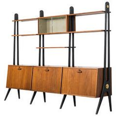 Mid-Century Bookcase in Teak and with Black Details