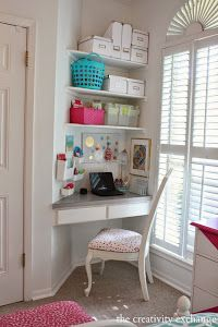 Little Girl's Room Revamped to Bright and Bold Tween Room Organized children's desk nook. The Creativity Exchange Girls Bedroom Storage, Bedroom Desk, Bedroom Boys, Bedroom Small, Diy Bedroom, Bedroom Corner, Childs Bedroom, Bedroom Black, Closet Bedroom