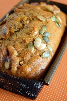 Squash Harvest Loaf - 2 cups butternut squash puree - walnuts - pumpkin seeds - flour - brown sugar - sugar - 4 eggs - nutmeg - cinnamon - canola oil - buttermilk