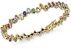 SheBee 14K Yellow Gold Multicolor Sapphire Teardrop Bangle Bracelet