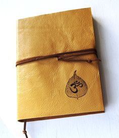 Bodhi Om GOLDEN Leather Journal LINED Paper Diary by MusedBooks, $40.00
