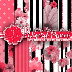 Glittered stripes and flowers, floral seamless patterns for fabrics textiles scrapbooking crafts planner stickers invitations and more