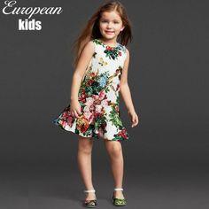 Girls Dresses Summer 2015 Princess Dress European Style Kids Dress Designer Digital Floral Print A Line Kids Dresses for Girls