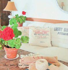 The Country Farm Home: Feed Sacks--Flowers--Wood