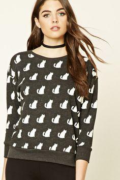 Fleece Cat Print Sweatshirt
