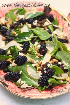 Greens with Pears, Blackberries and Creamy Lemon Poppyseed Vinaigrette