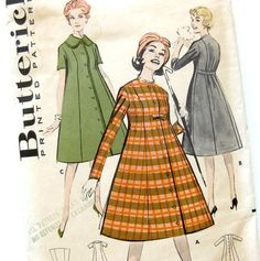 1950s Vintage Sewing Pattern Button Front Trapeze by SelvedgeShop