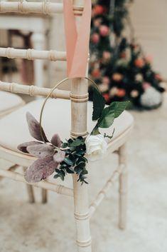 Wreath Flowers Pew End Aisle Ceremony Chair Hoop Wedding Ideas Rebecca Carpenter Photography Wedding Pews, Wedding Isles, Wedding Chairs, Wedding Events, Wedding Day, Weddings, Wedding Arches, Wedding Ceremonies, Church Wedding
