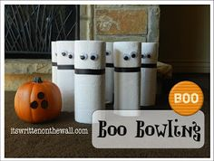 Pin for Later: 17 Festive (and Fabulous!) DIY Kids' Halloween Party Games Boo Bowling Put those extra rolls of paper towels to use and get those kids bowling. See more Halloween ghost bowling. Halloween Carnival Games, Classroom Halloween Party, Halloween Birthday, Halloween Boo, Holidays Halloween, Halloween Treats, Cheap Halloween, Fall Carnival, Carnival Ideas