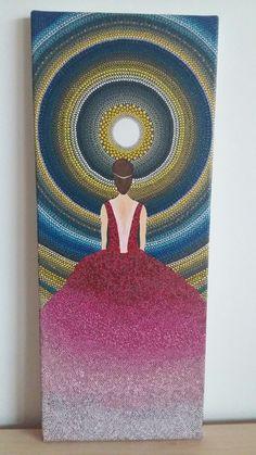 Acrylic handpainted canvas. Dotillism art. 20x50 cm