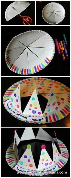 Here's another contribution to my AWANA Cubbies Series. This Paper Plate Crown… Here's another contribution to my AWANA Cubbies Series. This Paper Plate Crown – AWANA Cubbies Bear Hug Craft is an easy craft for preschool age kids and ol Craft Party, Diy Party Hats, Craft Activities, Indoor Activities, Summer Activities, Crafts To Do, Dance Crafts, Diy For Kids, Arts And Crafts For Kids Easy