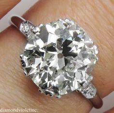 3.71ct Antique Vintage Art Deco Old European Diamond Engagement Wedding Ring Platinum EGL USA by DiamondViolet on Etsy https://www.etsy.com/listing/203736058/371ct-antique-vintage-art-deco-old