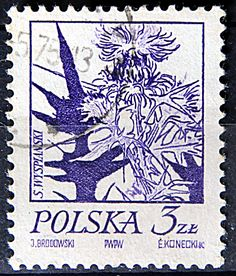 Poland.  FLOWERS. PAINTINGS BY STANISLAW WYSPIANSKI. THISTLE.  Scott 2020 A603, Issued 1974 Jan 22, Engraved, Perf. 12 x 11 1/2, 3z.
