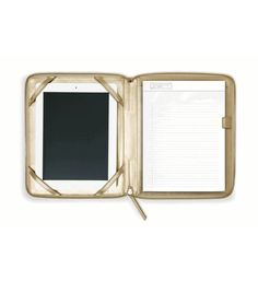 Leather iPad Case with Notepad in Gold, Black or Camel by russell+hazel® $120