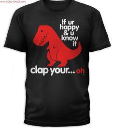 Clapping T-Rex Dinosaur Tee-Men s T-Rex T-Shirt. Ropa Hecha A ManoCamisetas  ... a58ddd3d833