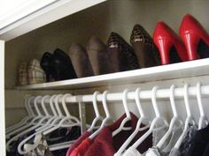 I love the idea of having dress shoes lined up like this.  It's pretty and you don't wear them as frequently.