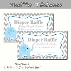 free printable elephant diaper raffle | Elephant - Diaper Raffle - Baby Shower - Set of 10 Blue Elephant ...