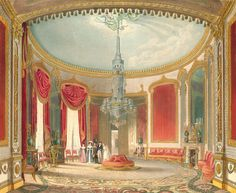 Royal Pavilion  watercolor by John Nash, the Prince Regent's favoured architect. This is his  view of the room as it appeared in the 1820s.  This room was originally decorated in the Chinoiserie style but from the 1820s it took on a different character, and was re-decorated in the Indian style.  The gilded canopies above the wall panels, the overmantle mirrors and above the curtains are all derived from Mogul architecture. The scheme was designed by Robert Jones