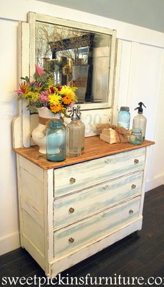 Refinished antique dresser - love the beachy vibe with the painted #'s!
