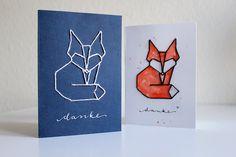 Stickkarte Tangram Fuchs Handlettering Kalligraphie
