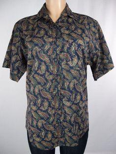 TILLEY ENDURABLES Shirt Size M Blue Paisley Liberty Cotton Lawn Short Sleeve #TilleyEndurables #ButtonDownShirt Paisley, New Inventory, New Pins, Short, Lawn, Liberty, Globe, Men Casual, Elegant