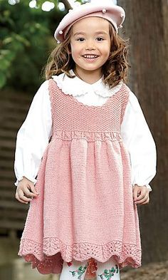 Ravelry: Shine Merino Dress pattern by Pierrot (Gosyo It comes with 72 free patterns! Knitting For Kids, Baby Knitting Patterns, Crochet For Kids, Baby Patterns, Crochet Baby, Toddler Dress, Baby Dress, Little Girl Dresses, Kids Outfits