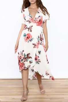 White floral print short sleeve wrap dress with high-low hem and tie waist. Floral Wrap Dress by Peppermint. Clothing - Dresses - Wrap Dress Clothing - Dresses - Floral New York City Manhattan, New York City White Dress Summer, Summer Dresses, Resort Casual Wear, Dress Outfits, Casual Dresses, Wrap Dress Floral, Floral Dresses, New Dress, Ball Gowns