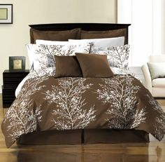 Amazon.com: Chezmoi Collection 8-Piece Soft Microfiber Reversible Brown White Tree Branches Bed in a Bag Comforter with Sheet Set, California King: Home & Kitchen