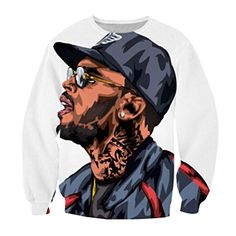 Unisex Hipster Cartoon Chris Brown Swag 3D Sweatshirt Pul…
