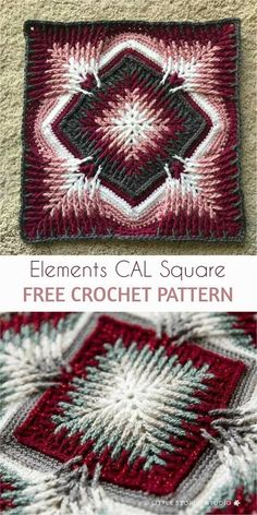 Crochet Granny Square Patterns Elements Cal Square for Blankets, Pillows, Centrepieces [Free Crochet Pattern] Motifs Granny Square, Granny Square Crochet Pattern, Crochet Blocks, Crochet Motifs, Crochet Squares, Crochet Blanket Patterns, Knitting Patterns, Crochet Pillow, Crochet Blankets
