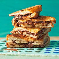 Nutella-Banana Melts. chocolatebanana melt, brown sugar, kid recipes, chocol banana, rachelray, peanut butter, picky eaters, dessert, grilled sandwiches