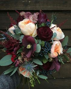 Deep wedding bouquet colors for a winter wedding. Bouquet by fairy nuff flowers Bouquet D'eucalyptus, Eucalyptus Bouquet, Bouquet Flowers, Sunflower Bouquets, Seeded Eucalyptus, Wedding Flower Bouquets, Carnation Wedding Bouquet, Peach Bouquet, Lavender Bouquet