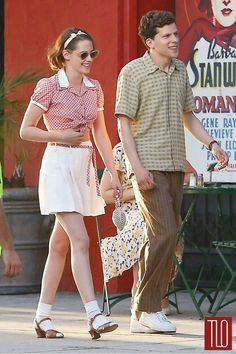 "Kirsten Stewart and Jesse Eisenberg in""Cafe Society,"" a 2016 film directed by Woody Allen and set in the 1930s."