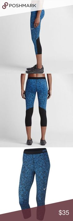 Nike // Dri-FIT Women Palm Print Training Capris Nike Pro Cool Palm Print Women's Capris are the perfect companion for high-intensity training and competition. Their close-to-body fit and Dri-FIT fabric deliver performance and comfort without distractions. Mesh panel behind the knee increases ventilation. Fun print to wear out to the gym or to run errand. Nothing like some new work out gear to get you motivated. Nike Pants Capris