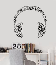 Vinyl Wall Decal Headphones Music Musical Room Art Stickers Unique Gift in X in / Black