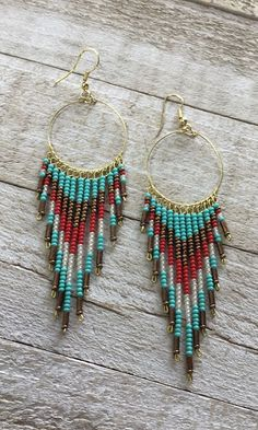 Rot / Türkis Seed Bead Ohrringe , Best Picture For glass Beaded Earrings For Beaded Necklace Patterns, Beaded Bracelets Tutorial, Seed Bead Patterns, Earring Tutorial, Seed Bead Bracelets, Beading Patterns, Seed Beads, Beaded Necklaces, Beaded Earrings Native