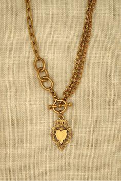 18″ Lulu Necklace with Westmoreland Medal #vintagenecklace #vintagemedal
