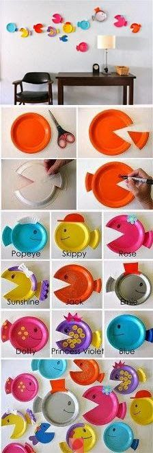 Creative Fun For All Ages With Easy DIY Wall Art Projects Fisch Pappteller Handwerk Craft Activities, Preschool Crafts, Fun Crafts, Diy And Crafts, Arts And Crafts, Paper Crafts, Paper Plate Crafts For Kids, Preschool Christmas, Christmas Crafts